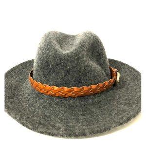 Grey felt hat with brown braided strap